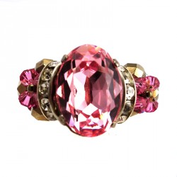 Anel Cabochao Light Rose Swarovski Adelinne