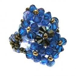 Anel Swarovski azul Aline