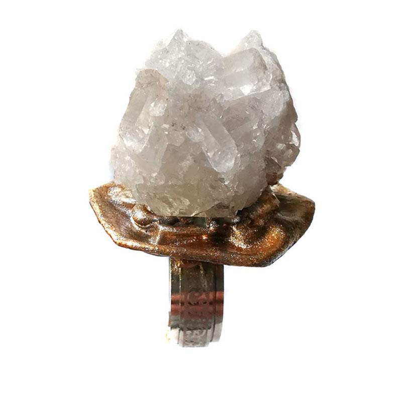 Anel Cristal Rocha Rustico