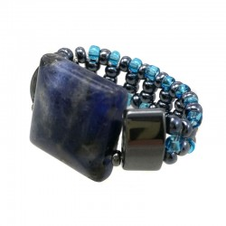 Anel Lapis Lazuli Hematita