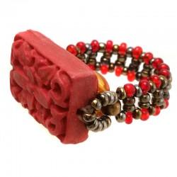 Anel Cinnabar Vermelho