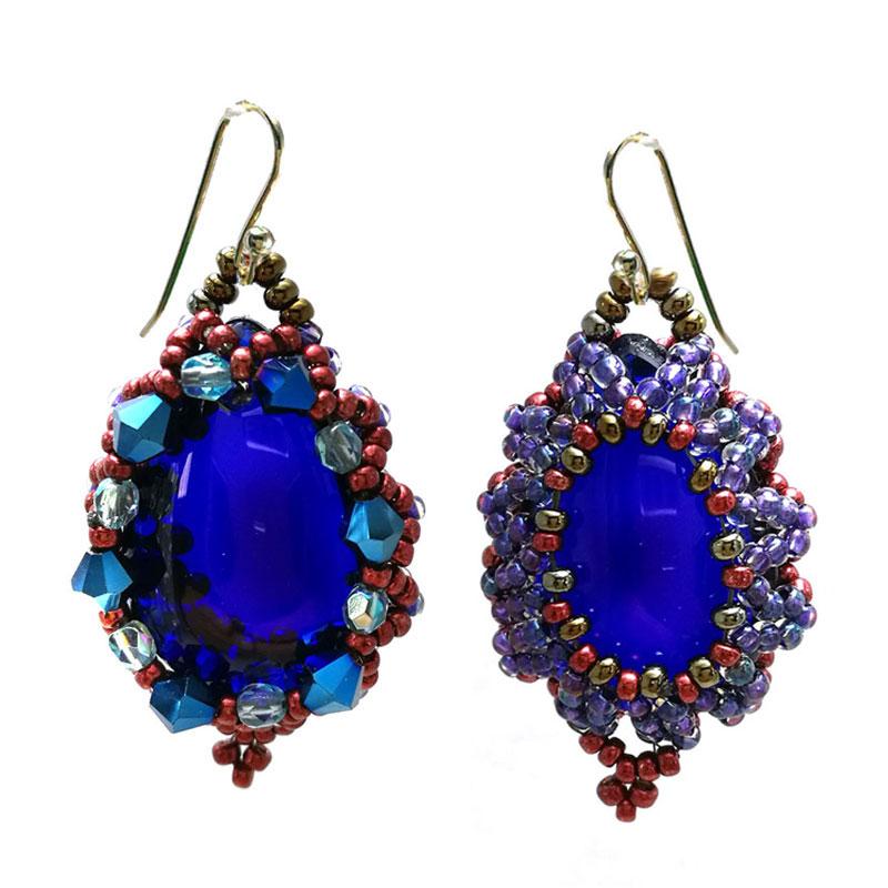 Brincos Gota Azul Cobalto Peyote