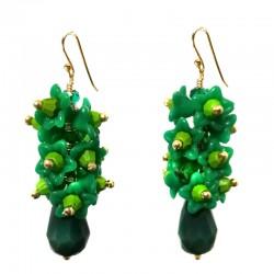 Brincos florais de cachinhos verdes