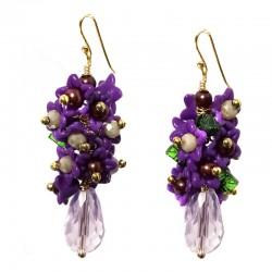 Brincos Cristal Cachos Violeta