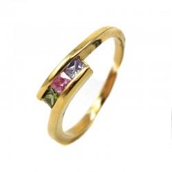 Anel Tres Zirconias Coloridas Ouro