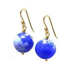 Brincos Esferas Lapis Lazuli Craquele